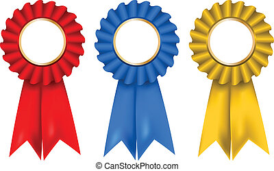 Rosettes - A collection of red, blue and gold rosettes