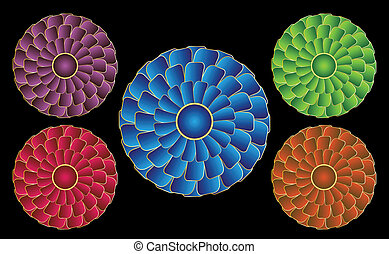 Rosettes that appear to be spinning due to an optical illusion - in a variety of colors