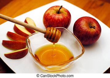 rosh, アップル, ユダヤ人, -, 蜂蜜, hashanah, 年, 新しい