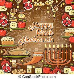 rosh, card., elements., judeu, hashanah, desenho, feriado, feliz