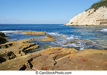 Rosh HaNikra national reserve, Israel. - Rocks and white...