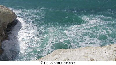 Rosh Hanikra seascape with white chalk cliffs - Waves of...