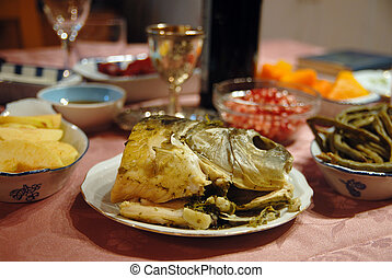 rosh hashana, 晚餐, 在, 以色列, 所作, israeli, 家庭