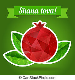 Rosh hashana card - Jewish New Year. Greeting text Shana...
