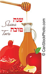 Rosh hashana card - Shana Tova Greeting - Vector...