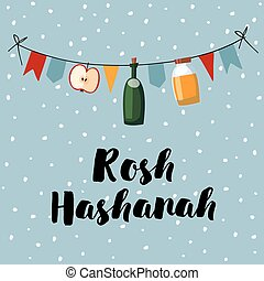 Rosh Hashana greeting card, invitation, banner. Decorative string with honey, wine bottle, apple, party flags. Vector