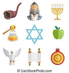 Rosh Hashana Jewish New Year Yom Ki - Icons Of Jewish New ...