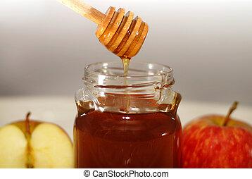 rosh hashana, tradizionale, mela, e, miele