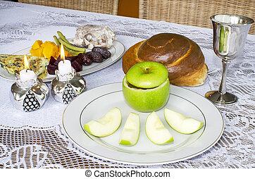 rosh hashanah, 猶太的假日, seder 桌子