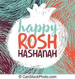 rosh hashanah bright.eps - Greeting card wiyh symbol of Rosh...