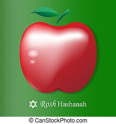 Rosh Hashanah card. Red Vector apple isolated on green background. Eps illustration.