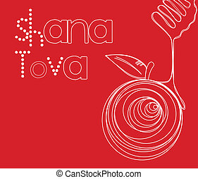 "Rosh Hashanah Card - Vector illustration - ""Happy New Year..."