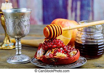 rosh hashanah, ebreo, anno nuovo, vacanza, concept.