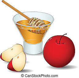 A vector illustration of a glass filled with honey and a special honey serving spoon and an apple and two slices of apple.