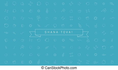 Rosh Hashanah holiday flat design animation background with...