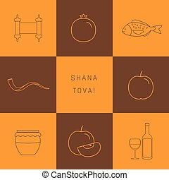 Rosh Hashanah holiday flat design thin line icons set with ...