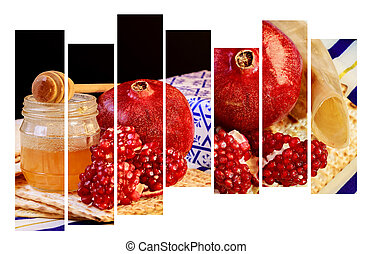 rosh hashanah jewesh holiday concept, honey, apple and pomegranate over wooden table. traditional holiday symbols.