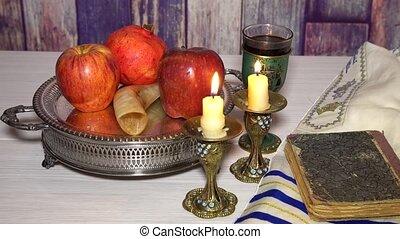 rosh hashanah jewish holiday concept shofar, torah book,...