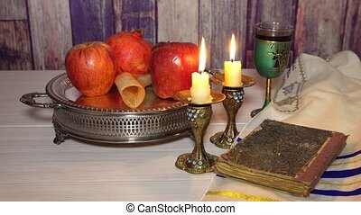 Rosh hashanah jewish New Year holiday concept. Selective...