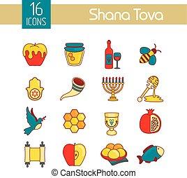 rosh hashanah shana tova jewish new year icon set