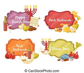 Rosh Hashanah, Shana Tova or Jewish New year cartoon flat...