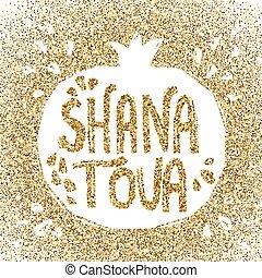 rosh hashanah, tarjeta de felicitación, con, pomegranate.