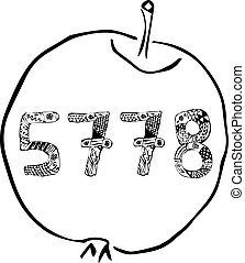 Rosh HaShanah. The Jewish New Year. 5778 year in the apple. Doodle. hand draw. Vector illustration