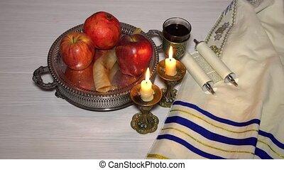 rosh, joodse , concept., hashanah, jaar, nieuw, vakantie