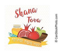 rosh, judío, hashanah., símbolos, año, nuevo