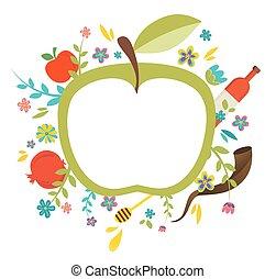 rosh, judío, hashanah., saludo, ilustración, año, vector, diseño, nuevo, tarjeta