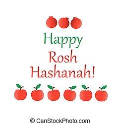 rosh, judío, hashanah, saludos, año, o