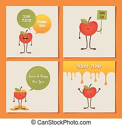 rosh, manzana, judío, granada, year., hipster, hashana, nuevo, tarjeta