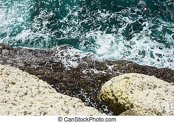 rosh, mediterráneo, hanikra, mañana, mar, ondas