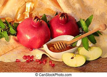 rosh, romã, -, símbolos, hashanah, mel, maçãs