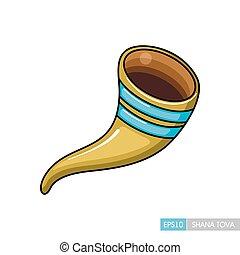 rosh, tova, shana, shofar., hashanah, icon.