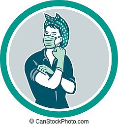 rosie-riveter-wearing-surgical-mask, マスコット, circ