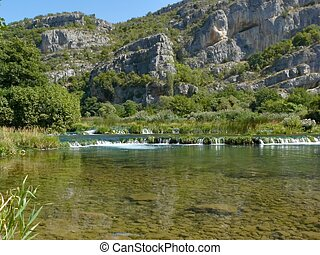 Krka National Park - Roski slap. Krka river in Krka National...