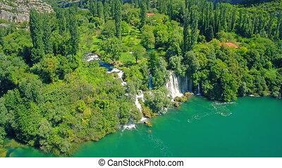 Roski Slap waterfall, aerial shot - Copter aerial view of...