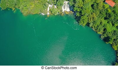 Roski Slap waterfall, aerial shot