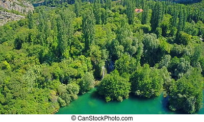 Roski Slap waterfall on river Krka, aerial shot