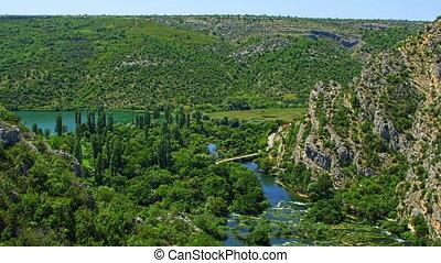 Roski Slap waterfalls area - Waterfall Roski Slap on river...