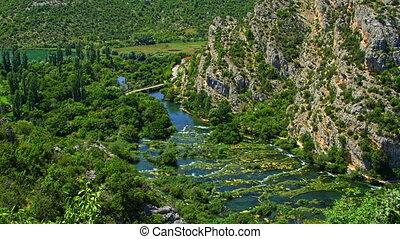 Roski Slap waterfalls nature - Waterfall Roski Slap on river...
