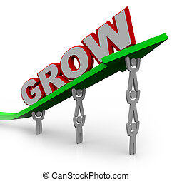 rosnąć, -, teamwork, ludzie, osiąganie, gol, przez, wzrost