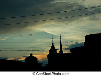 rosnący, rooftops, sylwetka, niebo, -evening
