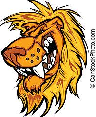 rosnando, vetorial, caricatura, leão, mascote