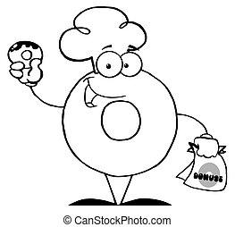rosquilla, carácter, caricatura, tenencia