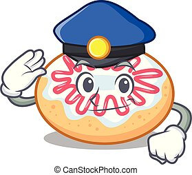 rosquilla, carácter, policía, caricatura, jalea
