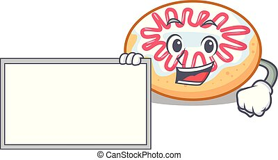 rosquilla, caricatura, carácter, jalea, tabla