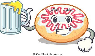 rosquilla, caricatura, mascota, jalea, jugo