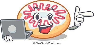 rosquilla, computador portatil, carácter, jalea, caricatura